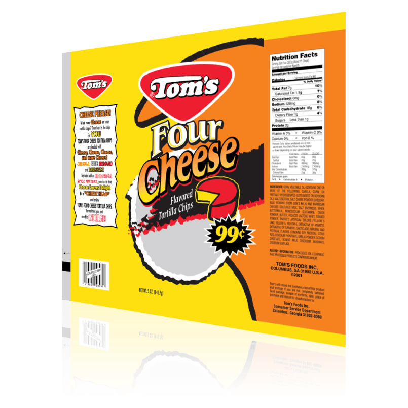 Tom's Four Cheese Potato Chips - Package Design